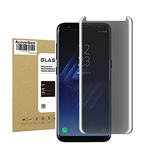 For Galaxy S8 Privacy Glass Screen Protector ,Acoverbest [9H Hardness] [ Bubble Free] Premium Privacy Anti-Spy Tempered Glass Screen Protector for Samsung Galaxy S8 (Privacy Screen For Not)