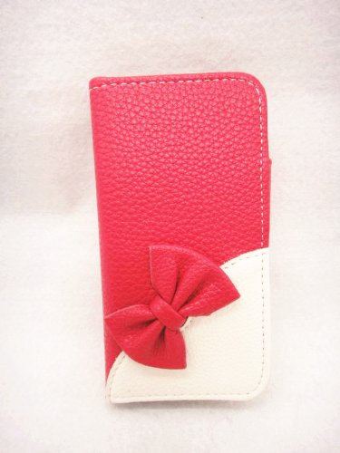 Wallet Bowknot Bow Girl Cute lovely Flip Pouch Cover Card Holder PU Leather Skin Case Cover for ZTE SAMSUNG GALAXY LG Alcatel Mobile Cell Phone (ZTE MAX N9520 Boost Mobile, rose(dark pink)) (Boost Mobile N9520 Phone Case)
