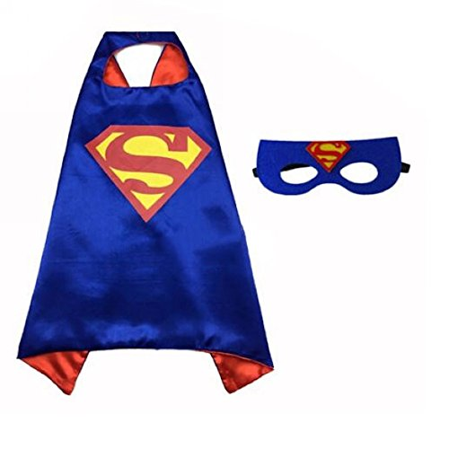 Kzoo Warehouse Superhero Superman Cape and Mask Costume Set for Boys Kids Age 2-10 Dress up Birthday Party Halloween (Halloween Dress Up 5 Game)