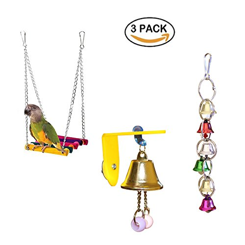 RYPET Bird Swing - Bird Toys Hanging Bell, Wooden Budgie Toys Pet Bird Cage Hammock Swing Hanging Toy for Small Parakeets Cockatiels, Conures, Macaws, Parrots, Love Birds, Finches (3 Pack) ()
