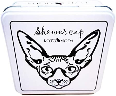 Kotomoda 20 Shower Caps for Sphynx Cats and Other Hairless Cats in a Tin Gift Box
