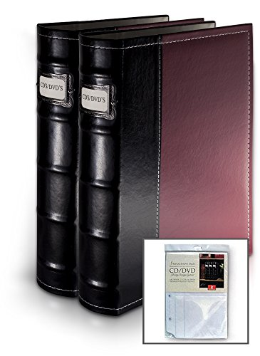 Bellagio-Italia Burgundy DVD Storage Binder Set - Stores Up To 128 DVDs, CDs, or Blu-Rays - Stores DVD Cover Art - Acid-Free Sheets by Bellagio-Italia