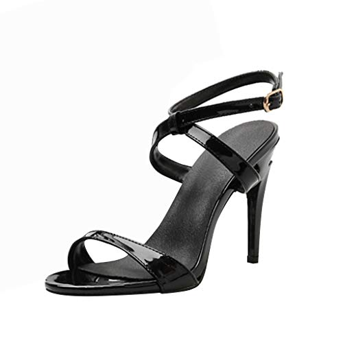 Cenglings Women Sexy Peep Toe High Stiletto Heels Pumps Cross Strap Sandals Hollow Out Slip On Party Beach Shoes Black