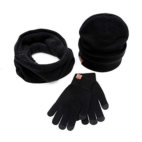 Winter Beanie Cap + Infinity Scarf + Touch Screen Gloves 3 in 1 Knit Skull Hat Soft Scarves and Mittens Unisex Black ()