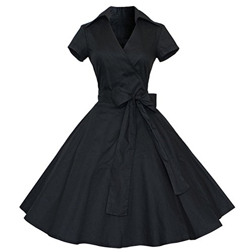 Sunling Womens 50s 60s Vintage Prom Dress For Homecoming Party Black L