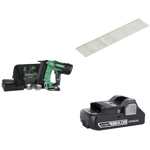 Hitachi NT1850DE 18V Cordless Brad Nailer with Hitachi 24102T 1-Inch x 18-Gauge Electro-Galvanized Brad Nails, 1000-Pack and Additional 3.0 Ah Battery