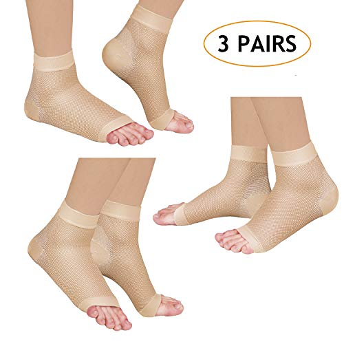 Laneco Plantar Fasciitis Socks (3 Pairs), Compression Foot Sleeves with Heel Arch & Ankle Support, Great Foot Care Compression Sleeve for Men & (Best Focus Socks)