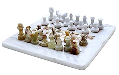 "Original Handmade Marble Travel Chess Set by RADICALn - 8"" White and Green Onyx Hand Crafted Full Chess Board Game Sets Premium Quality"