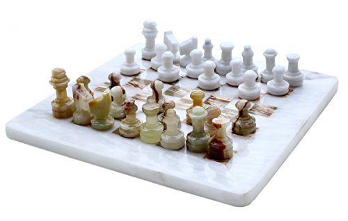 RADICALn 8 Inches best quality Handmade White & Green Onyx Marble Travel Chess games Set 2 player unique Staunton sets for tournament 32 pieces set modern chessboard-non backgammon - game - Marble Set Classic Chess
