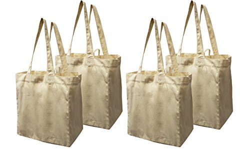 Earthwise Cotton Canvas Reusable Shopping Grocery Bag Tote (4 Pack) ()