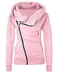 Women Casual Oblique Zipper Hoodie Sweatshirt Jacket