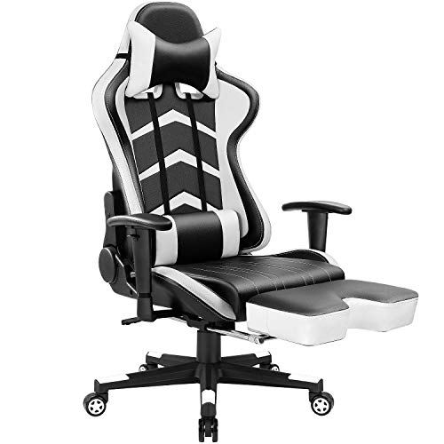 Furmax Gaming Chair High Back Racing Chair, Ergonomic Swivel Computer Chair Executive Leather Desk Chair with Footrest, Bucket Seat and Lumbar Support (White)