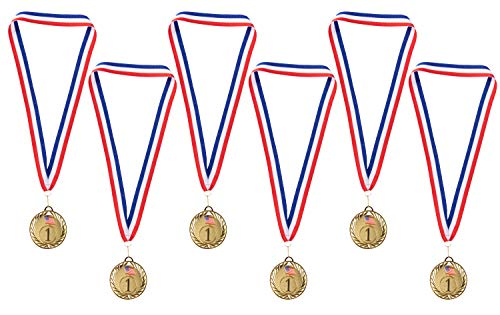Juvale Gold Medals - 6-Pack Metal Olympic Style Winner Awards, Perfect for Sports, Competitions, Spelling Bees, Party Favors, 2.75 Inches Diameter with 16.3 Inch USA Ribbon -