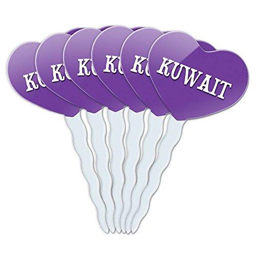 Purple Heart Love Set of 6 Cupcake Picks Toppers Decoration Country Ic-My - Kuwait (Kuwait Pick)