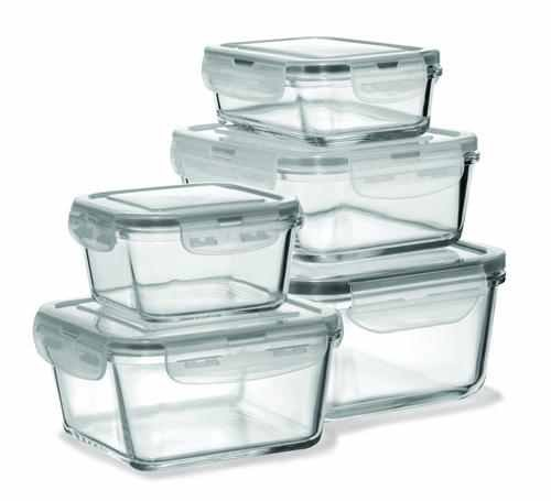 Fire & Ice 10 pc Glass Food Storage Container with Silicone Mitt