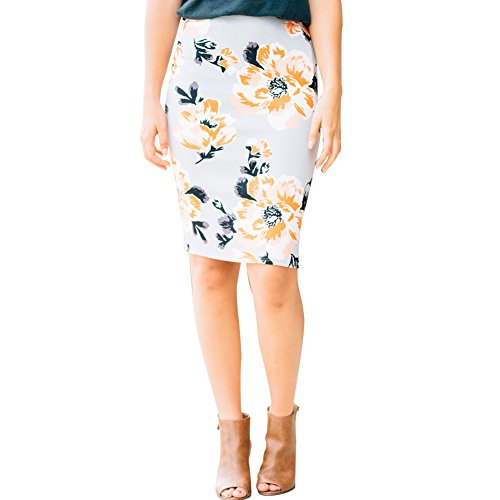 Women's Stretch Knit Midi Pencil Skirt With Back Slit For Women With Plus size White Large Back Slit Stretch Skirt