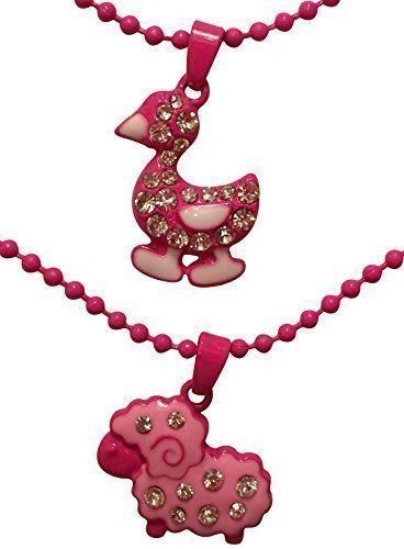 EverKid Costume Jewelry Necklace for Kids, set of 2, Lamb & Duckling Charms -