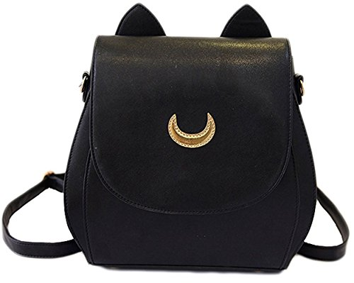 moon Tsukino Bag Sailor Black MIUNIKO Leather Women's Shool Backpack PU Cosplay Usagi x6nqq7wgO