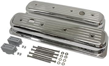Chrome Center Bolt SB Chevy Valve Cover Kit W// Bolts Breather /& Gaskets 5.0 5.7