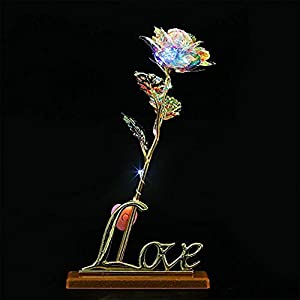 Lily-Li 24k Glowing Artificial Flowers Dipped Galaxy Rose with Love Wooden StandBase for Lover, Mother, Girlfriend, LED Gold Foil Flower (Vibrating Lamp, Base Stand) 44