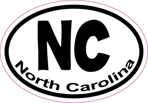 3X2 Oval NC North Carolina Sticker Vinyl State Vehicle Window Stickers Car Decal