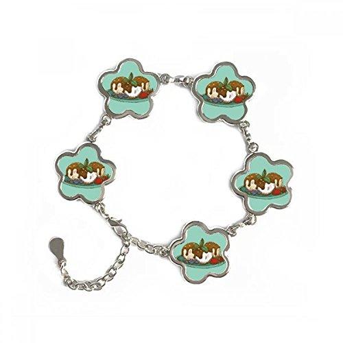 Strawberry Chocolate Ice Cream Ball Flower Shape Metal Bracelet Chain Jewelry Bangle Decoration Gift