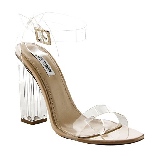 High Open Peep Transparent Chunky Lucite Strappy Robbin Heel Clear Cape Block Women's Maria Sandal Toe 2 8zwKP7Z