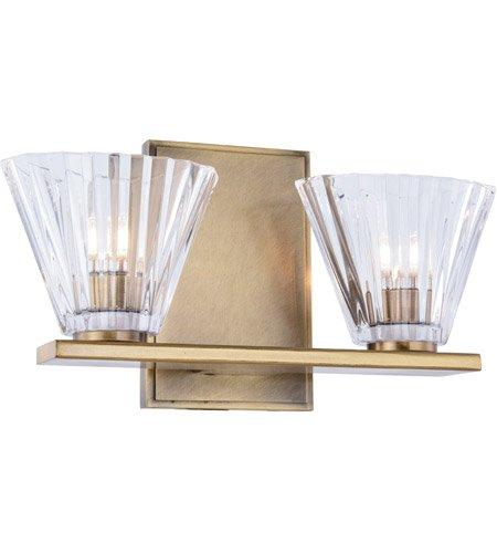 浴室洗面化粧台2ライトwith Urbanクラシックメタルとガラスクリアライトアンティーク真鍮の世界で40ワット – 12サイズクラシック B06XGH3GBF