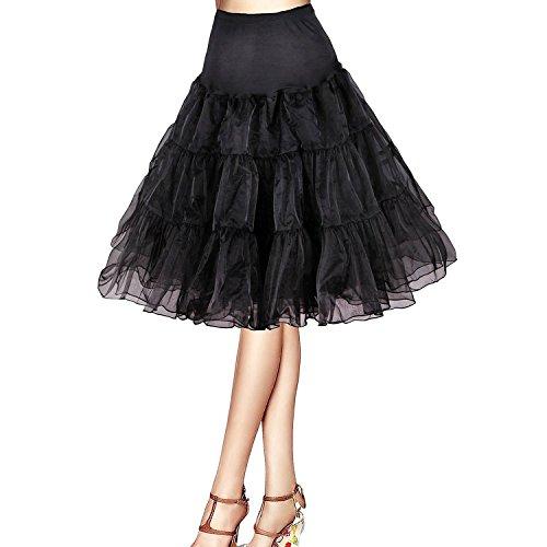 [Honeystore Women's Adult Tutu Halloween Costumes 50s Rockabilly Petticoat Skirt Black M] (Fifties Halloween Costumes)