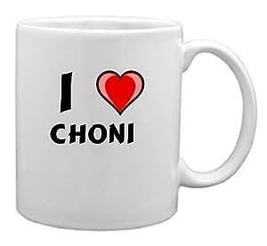 """Taza de cerámica con estampada de """"Te quiero"""" Choni (nombre de pila/apellido/apodo)"""