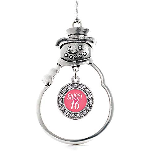 Inspired Silver - Sweet Sixteen Charm Ornament - Silver Circle Charm Snowman Ornament with Cubic Zirconia Jewelry