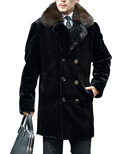 Mens Mink Coat - S&S Men Fashion Lapel Double Breasted With Fur Collar Faux Fur Mink Coat