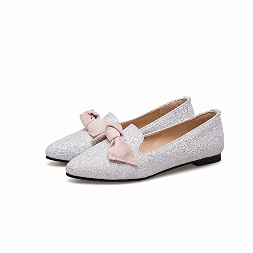 Sequins Shoes Women's Bling Loafer Bling Carolbar Lovely Flat Bow Court Silver P1CqS