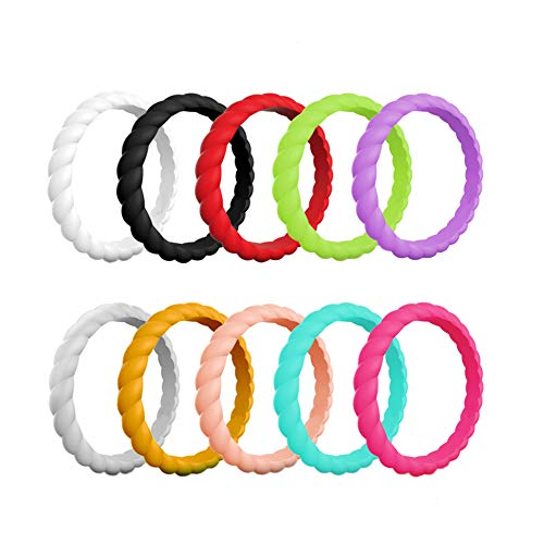 HLTPRO Silicone Wedding Rings for Women - 10 Pack Braided Thin Stackable Rubber Bands - 2mm Thick (White, Black, Red, Green, Purple, Silver, Gold, Pink Glitter, Turquoise, Rose, 8 (18.1mm)) ()