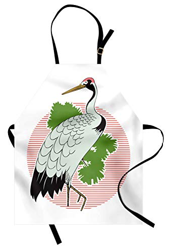 Lunarable Crane Apron, Japanese Grus Bird on a Background of Striped Sunset Figure and Green Leaves Asian, Unisex Kitchen Bib Apron with Adjustable Neck for Cooking Baking Gardening, -