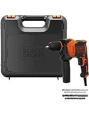 Black+Decker 710W 47,600BPM Single Gear Hammer Drill with 4 Drill Bits in Kitbox for Metal & Masonry Drilling, Orange/Black - BEH710K-GB, 2 Years Warranty
