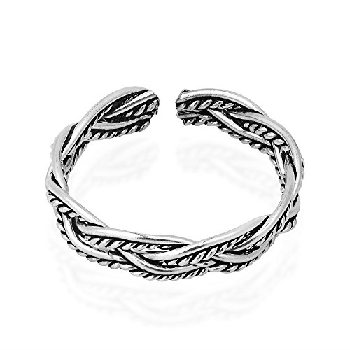925 Silver Celtic Weave Ring - Oxidized Celtic Weave Design Sterling Silver Toe Ring or Pinky Ring