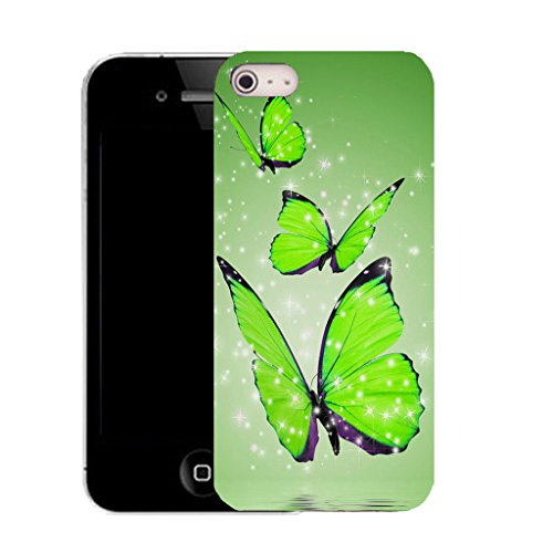Mobile Case Mate IPhone 5S clip on Silicone Coque couverture case cover Pare-chocs + STYLET - green alluring butterflies pattern (SILICON)