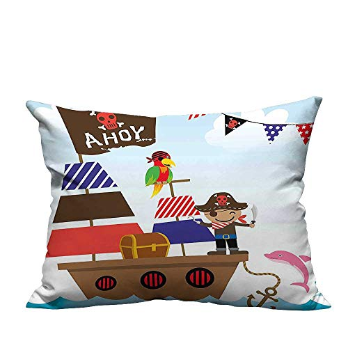 (YouXianHome Pillowcase with Zipper a Boy Cute Pirate Kids Treasure Chest with Ship on Ocean Background Illustration Ultra Soft & Hypoallergenic (Double-Sided Printing) 13.5x19 inch)
