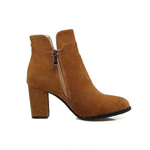 VogueZone009 Damen Gemischte Farbe Mittler Absatz Schnüren Rund Zehe Stiefel mit Schnalle, Blau, 42