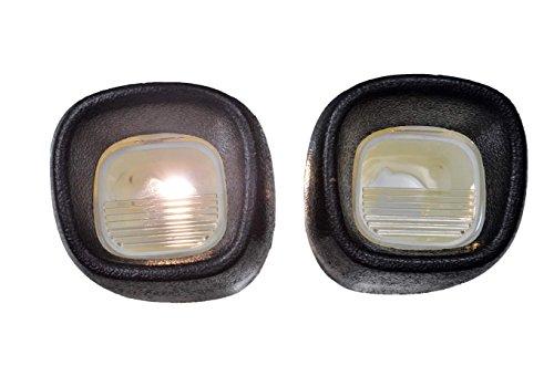 PT Auto Warehouse GM-5544A-P - License Plate Light/Lamp Lens, Textured Black - Left/Right Pair