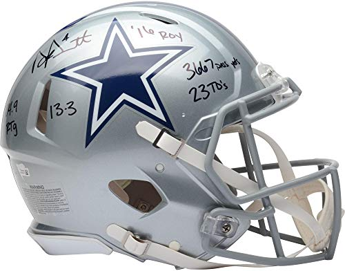 Dak Prescott Dallas Cowboys Autographed Riddell Authentic Pro-Line Helmet with Multiple Inscriptions - Fanatics Authentic Certified
