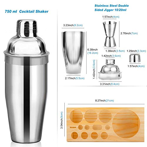 25oz Cocktail Shaker 17pc Bartender Kit with Stand,Professional Stainless Steel Bar Tool Set Bartending Kit Perfect for Drink Mixing Experience by Segauin (Image #5)