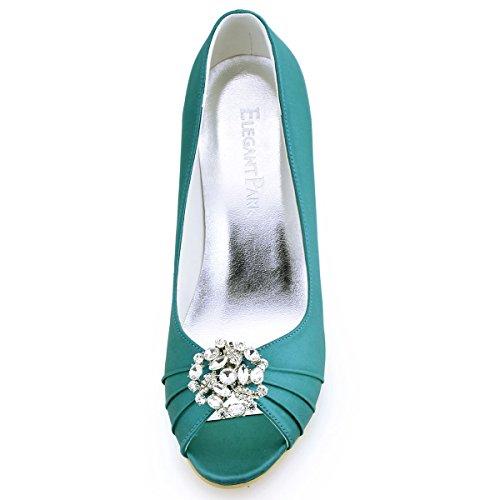AH Elegantpark Teal Cuña Boda AM Fiesta EP2009AH Flores Mujer Desmontable Clips De Zapatos Zapatos Rhinestone Satén ZIqISnRwrt