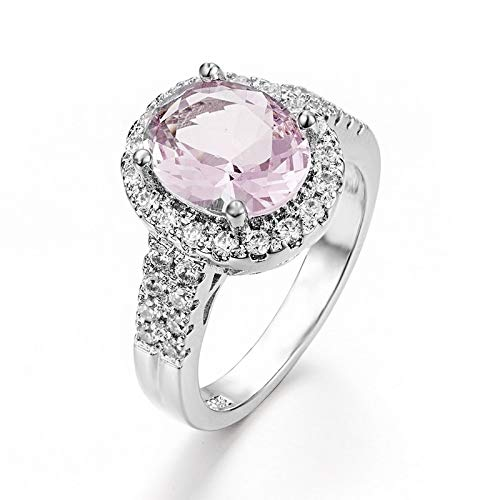 Lindsie-Box - CZ Austrian Crystal Rings Engagement Pink Round Cubic Zirconia Rings For Women Silver Copper Wedding Party Jewelry ()