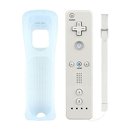 Wii Remote Controller, Replacement Remote Game Controller with Silicone Case and Wrist Strap for Nintendo Wii and Wii U (White)