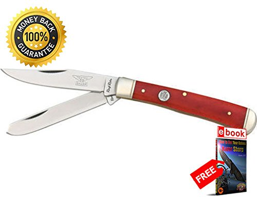 (Rough Rider Folding Utility Knife 431 Folding Knife Trapper Red Smooth Bone 4 1 8'' 440 razor sharp knife strong carbon blade survival camping hunting EDC military knife eBOOK by MOON KNIVES)