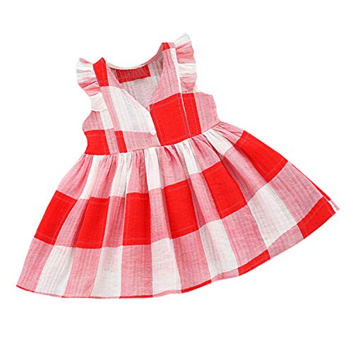 Toddler Kids Baby Girls Plaid Striped Dresses Clothes Party Princess Dresses Fashion New Roupa Infantil Menina Red -
