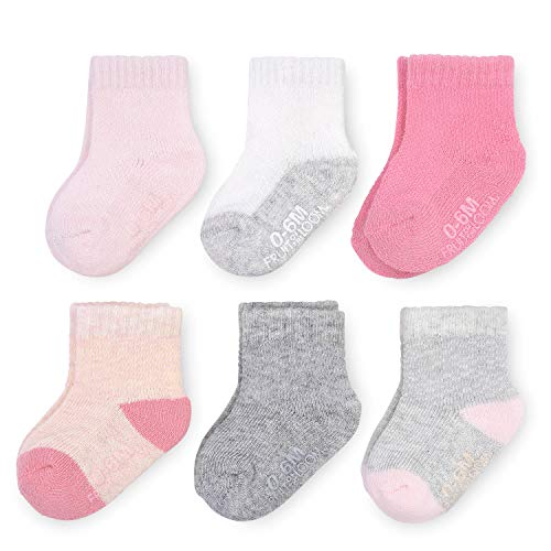 Fruit of the Loom Baby 6-Pack All Weather Crew-Length Socks, Mesh & Thermal Stretch - Unisex, Girls, Boys (0-6 Months, Pink)