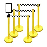 Retractable Stanchion, 6 SPECIALTY Posts + Signframe, 36'' Ht, 78'' Special Event & Holiday Theme Belt + Bonus Replacement Cassettes + Wall Receiver (YEL Post/Checker Belt)